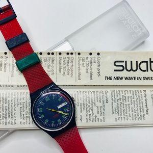 Swatch Originals Red Blue Silicone Watch GB 411
